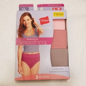 Hanes Seamless Smoothing Hi Cuts 3 Panties 7/L